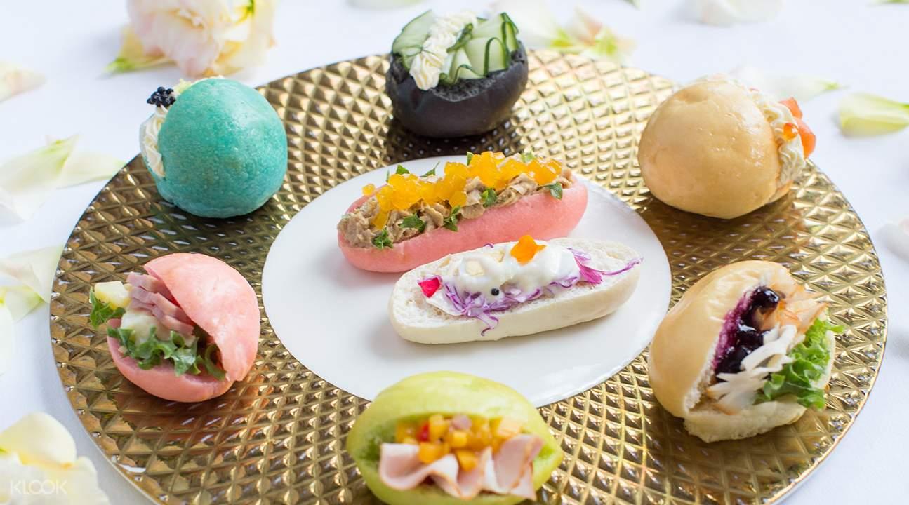 Selection of savoury bites at Lobby Lounge at Shangri-La Hotel Bangkok